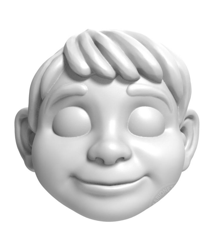 3D head model of a Boy in animated style for 3D printing