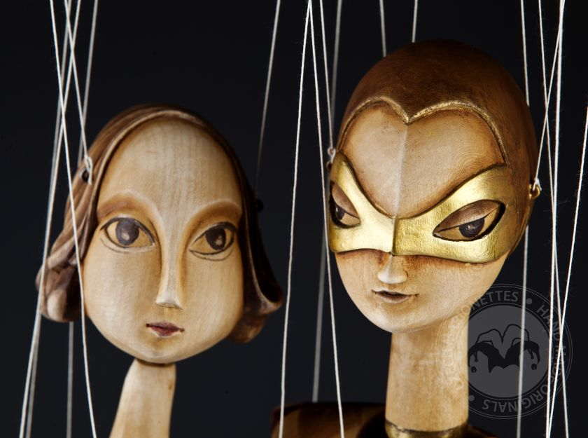Harlequin and Ballerina wooden marionettes