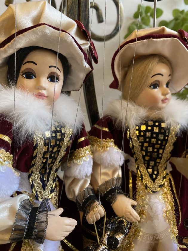 Countess Marie marionette puppet - a beautiful brunette with a beautiful hat