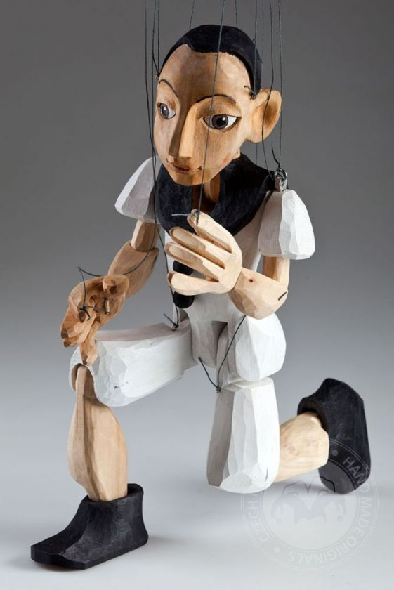 Pierrot Hand Carved Czech Marionette