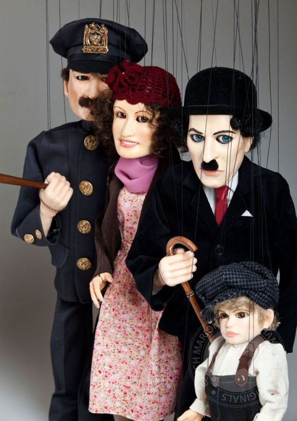 Charlie Chaplin marionettes - a collection of 3 characters from the movie Kid