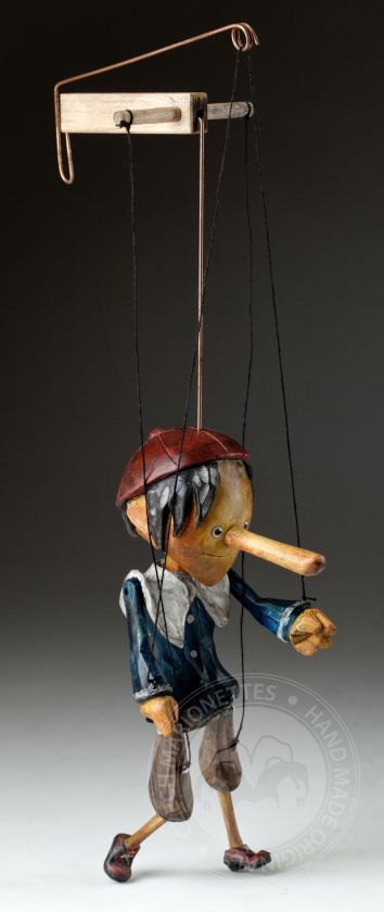 Superstar Pinocchio - hand-carved string puppet with an original look