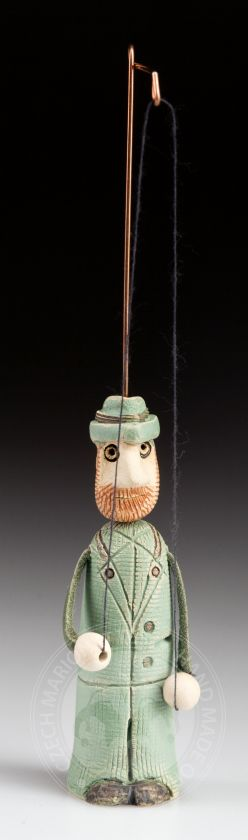 Ceramic puppet of a gamekeeper