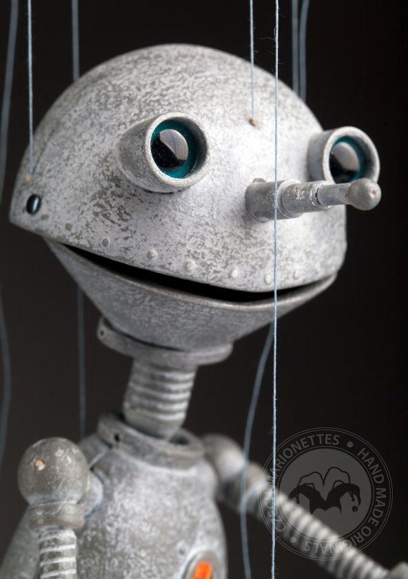 Robot – ON - marionette in silver look and steampunk style