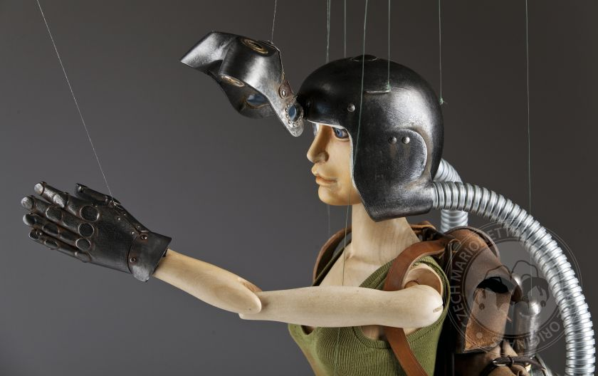 Awesome handcarved marionette in Steampunk style
