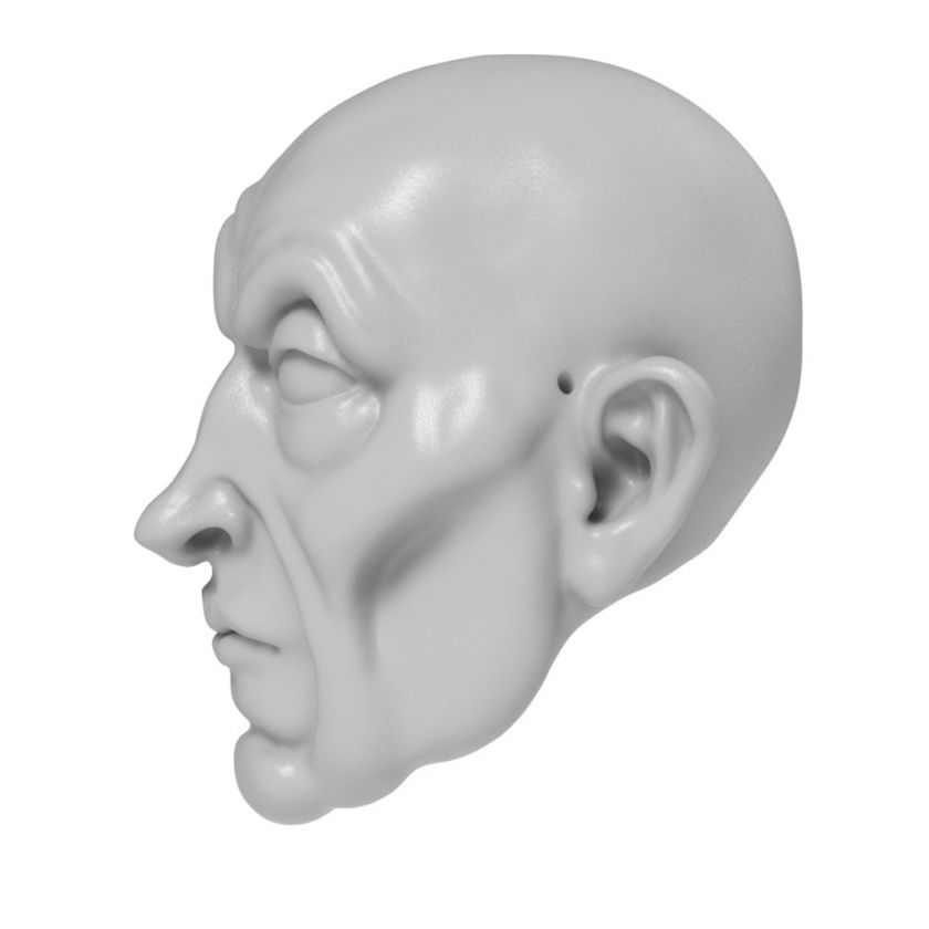 3D Model of a Claude Frollo head for 3D print 130 mm