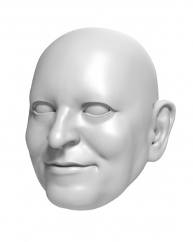 3D Model of a satisfied man's head for 3D print 126mm