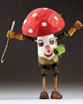 Toadstool wooden marionette