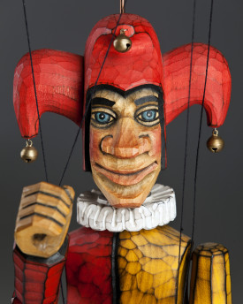 Jester made of linden wood - string puppet in retro style