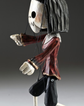 Superstar Skeleton of Devil lady - a hand carved string puppet with an original look