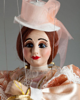 Countess Rosie - a string puppet in a salmon dress
