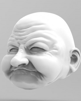 3D Model of a kind grandma's head for 3D printing