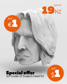 3D Model of professor Snape's head for 3D print – 165mm