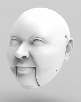 3D Model of a corpulent man head for 3D print