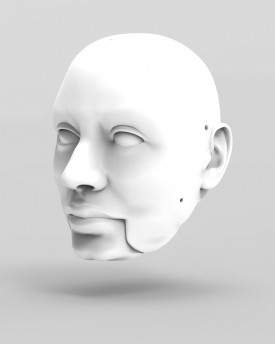 3D Model of corpulent man's head for 3D print 155 mm
