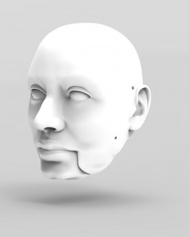 3D Model of corpulent man's head for 3D print