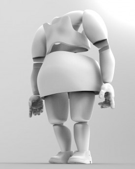 3D Model of large woman body for 3D print