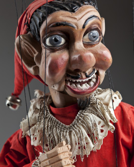 Jester with a moving mouth - antique marionette