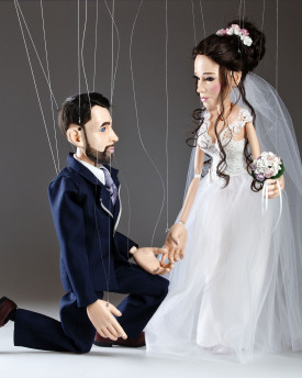 Bride and Groom marionette from a portrait photo - original wedding present